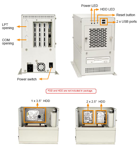 1407462 - 4-SLOT Industrial Wallmount Chassis for Half-Size SBC
