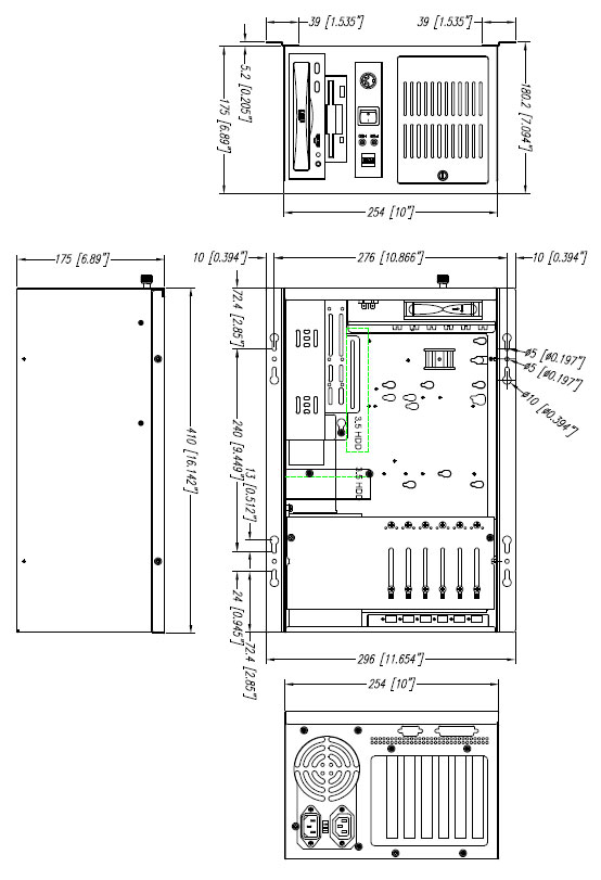 1407658 - 6-SLOT Industrial Wallmount Chassis for Full-Size SBC