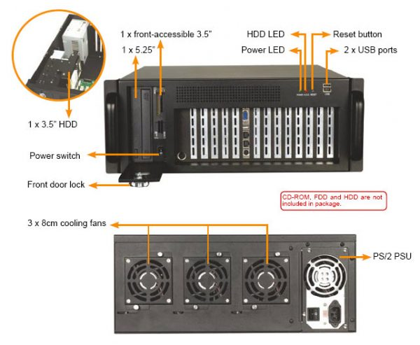 1407670 - 4U 14-SLOT Industrial Rackmount Chassis for Full-Size SBC
