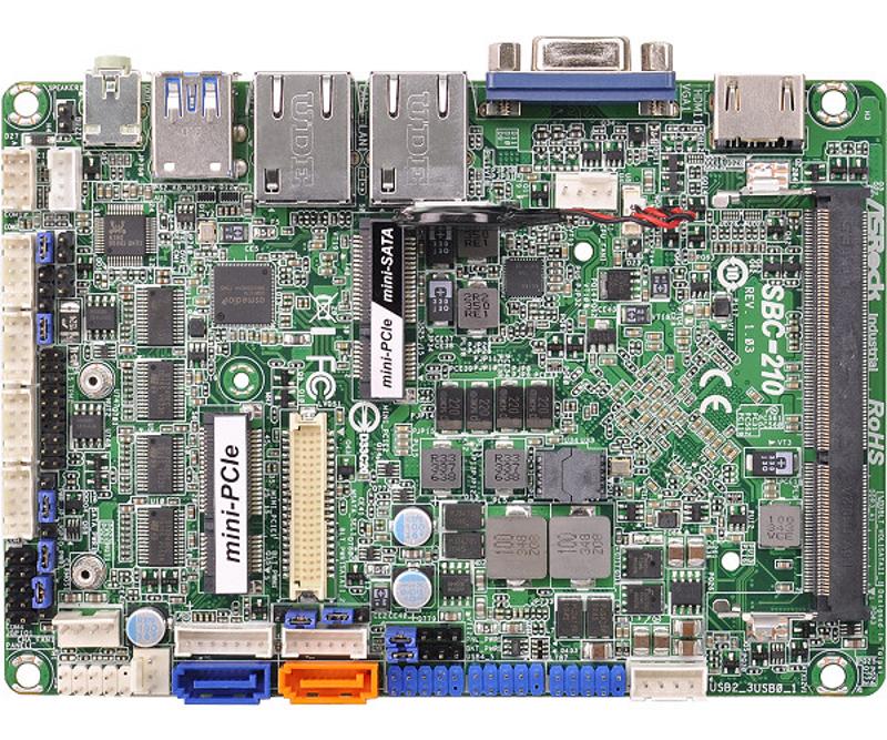 """SBC-210 - 3.5"""" Embedded Mini Board with Intel Baytrail-M Celeron J1900 or N2930 SoC processor"""